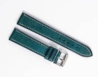 Turquoise leather WATCH BAND for 16mm, 19mm, 18mm, 21mm, 22mm, 24mm, 20mm Custom made watch strap watch strap.