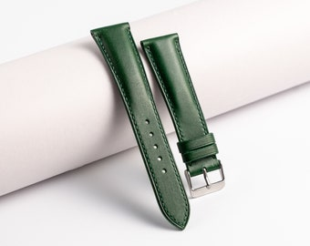 Green leather Watch Band 22/18mm 120/80mm one size. Watch strap handmade