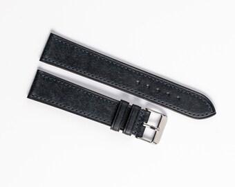 Dark Blue Watch strap, hand stitched, Pueblo leather watch strap, 16mm 18mm 17mm 18mm 20mm 22mm. Custom watchstrap