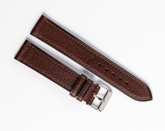 Mens brown watch band, Handmade leather watch strap 17mm, 18mm, 19mm, 20mm, 21mm, 22mm, 24mm. Vintage minimalist style band. Side stitch