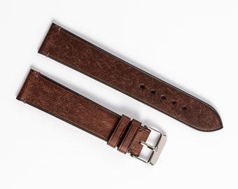 Brown / Tabacco minimalist watch band. Leather side-stitch watch strap for 16mm, 17mm, 18mm, 19mm, 20mm, 22mm, custom watchband.