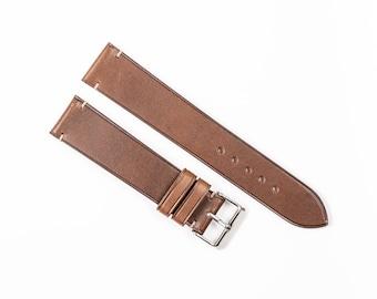 Brown minimalist watch band. Buttero leather watch band for 16mm, 17mm, 18mm, 19mm, 20mm, 21mm, 22mm watchband.