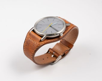 Whisky Bund watch band. Waxed vintage style leather watch strap. Handmade 16mm, 17mm, 18mm, 19mm, 20mm, 21mm, 22mm. Military watchband