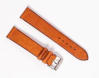 Minimalist Watch band in saddle tan Pueblo color. Handmade leather watch strap for 16mm, 17mm, 18mm, 19mm, 20mm, 21mm, 22mm, 24mm watches.