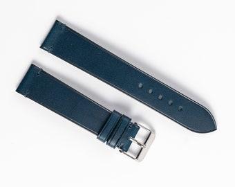 Navy blue leather watch strap. Buttero watch band for 16mm, 17mm, 18mm, 19mm, 20mm, 21mm, 22mm watchband.