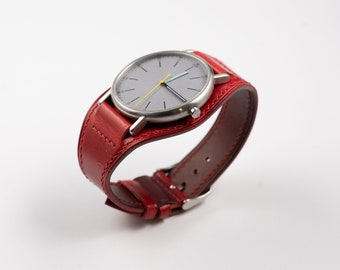 Red leather Watch band. Full bund watch strap. 16mm, 17mm, 18mm, 19mm, 20mm, 21mm, 22mm. Rolex, Seiko, Tudor, Handmade in Moscow, watchstrap