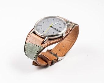 Leather Bund watch band, Cuff watch strap, Full bund strap, Military camo Pilot strap fits Rolex Hamilton Omega Timex Seiko Fossil Citizen