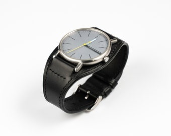 Black Leather Full BUND WATCH BAND. 18mm 20mm 19mm custom size. Replacement miliatary watch strap