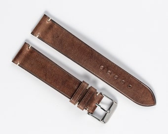 Brown waxed leather watch strap. Fit to 16mm, 17mm, 18mm, 19mm, 20mm, 21mm watches. Custom watch band