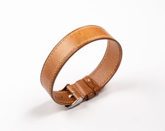 Golden brown Calf  One Piece leather watch band, Singlepass strap, for vintage Rolex, Omega, Seiko watches. Handstitched Single Pass