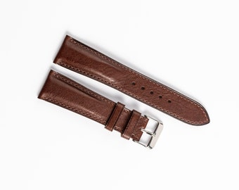 Watch strap 20mm leather. Brown Nappa full grain leather.