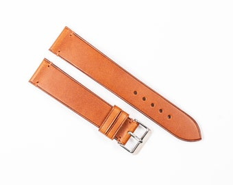Cognac leather watch strap. Buttero watch band for 16mm, 17mm, 18mm, 19mm, 20mm, 21mm, 22mm watchband.