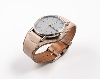 Beige Bund watch band. Full bund watch strap. Handmade, 16mm, 17mm, 18mm, 19mm, 20mm, 21mm, 22mm, 24mm watches strap. Rolex, Omega, Tudor