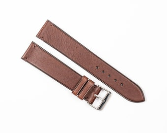 Brown leather watch band, Handmade leather watch strap. 16mm, 17mm, 18mm, 19mm, 20mm, 21mm, 22mm, 24mm