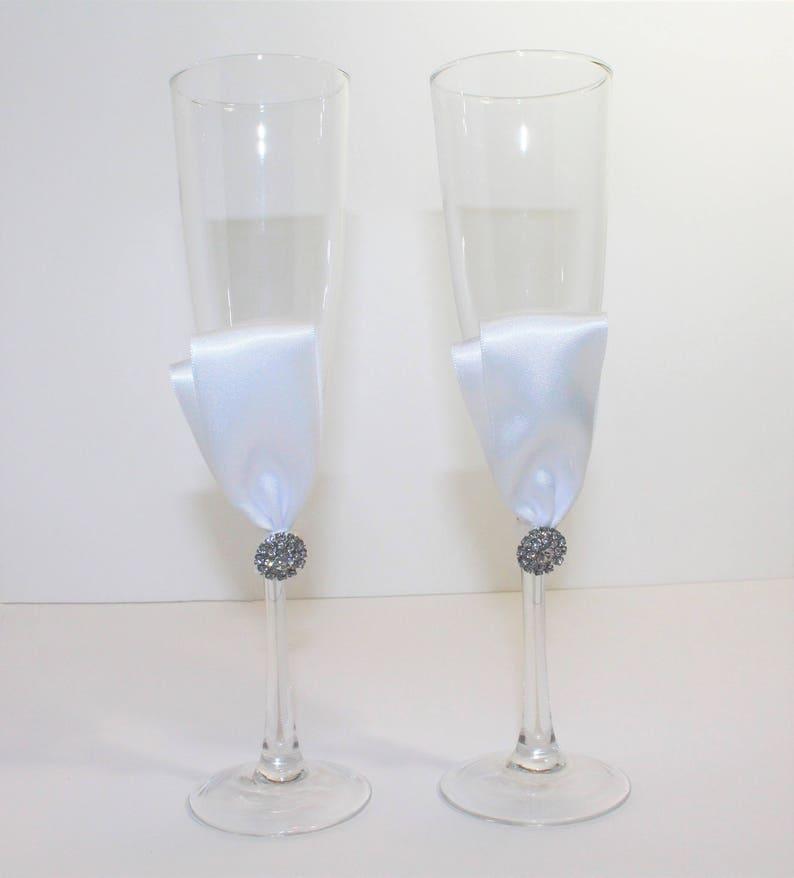 b3241189df2 CLEARANCE WEDDING CHAMPAGNE Flutes Bride   Groom Glasses
