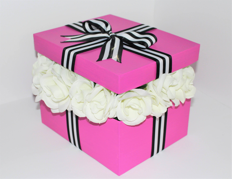 ROSES CENTERPIECE BOX Pink Black & White Stripes White Faux | Etsy