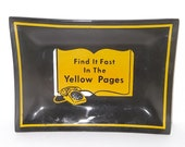Find It Fast In The Yellow Pages Ashtray Black and Yellow Vintage Rotary
