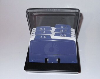 Black rolodex etsy vintage rolodex alphabetical business card address book flip holder colourmoves