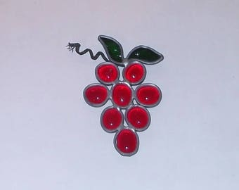 Stained Glass Leaded Red Grapes Glass Handmade Suncatcher