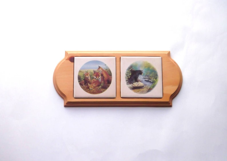 Black Bear /& Fox Ceramic Tile Wooden Handmade Wall Plaque Rustic Cabin Decor Hunting Wildlife
