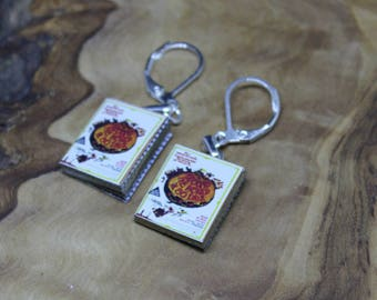 Miniature Book Earrings *With real pages!* Around the World in 80 Days, Jules Verne. Hand made, Unique, Dolls House accessories.