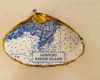 Newport, Rhode Island Decoupaged Sea clam Shell