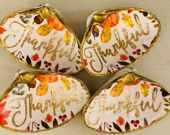 Be Thankful Decoupaged Shells