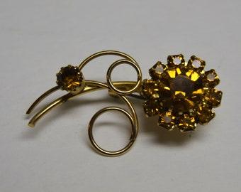 Vintage Amber Flower Gold Tone Brooch