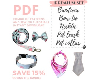PDF Sewing Tutorials and Patterns of dog accessories: pet bandana, bow, collar, pet leash and necktie / Premium Set /PDF Instant Download