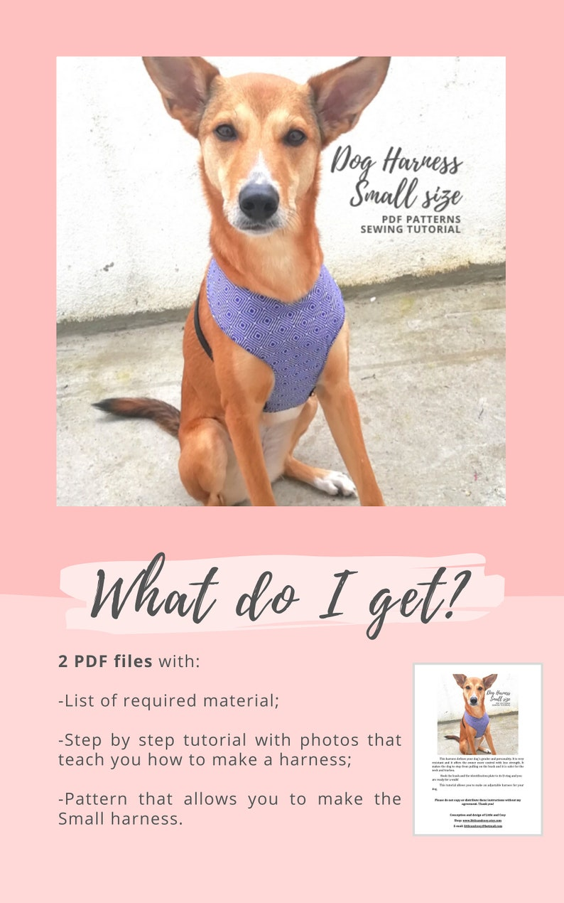Small size  Adjustable fabric harness Tutorial and Pattern for puppy  Sewing for small dogs Dog harness PDF sewing pattern