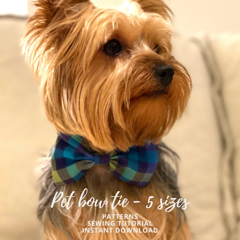 Pet Bow Tie Tutorial and 5 PDF Patterns / Extra-Small Small image 0