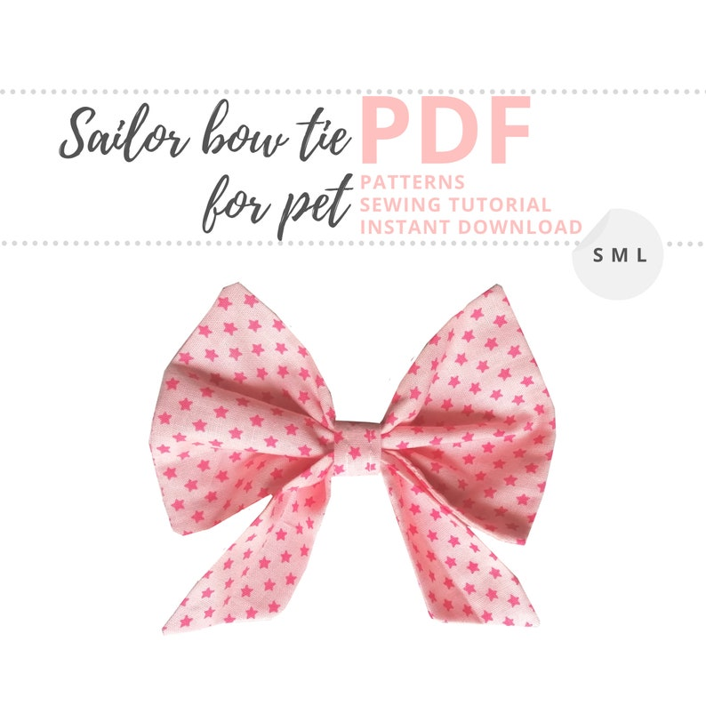 Sailor Bow for pet collar Tutorial and Patterns / Small image 0