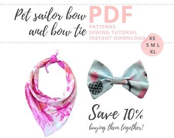 Dog bandana pattern PDF and bowtie pattern / Beginner dog bandana pattern and dog bow sewing pattern / Pet sewing pattern