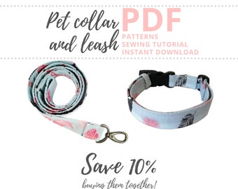 Dog collar and leash PDF patterns / How to Make a Pet Leash and collar / Dog walking supplies sewing tutorial / Sewing for dogs Download