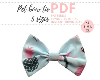 Pet Bow Tie Tutorial and PATTERNS/ Dog Bow / Extra-Small, Small and Medium, Large and Extra-Large/ Collar Accessories / Sewing Pattern PDF