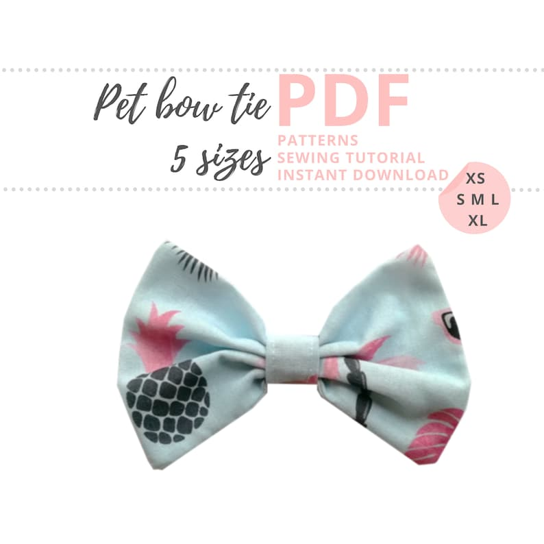 Pet Bow Tie Tutorial and PATTERNS/ Dog Bow / Extra-Small image 0