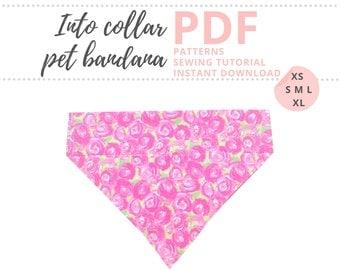 Over the collar dog bandana PDF / Dog bandana Pattern / Dog scarf pattern / Bandanna collar pattern / Dog patterns for sewing