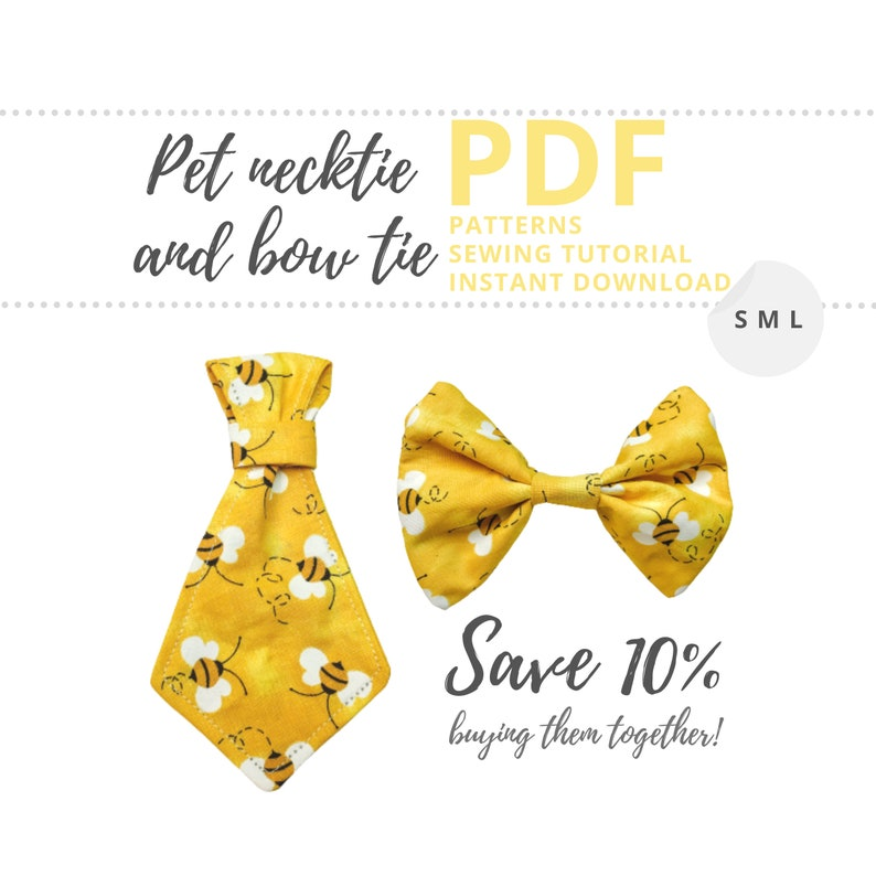 Dog collar accessories PDF patterns / Pet necktie and bow tie image 0