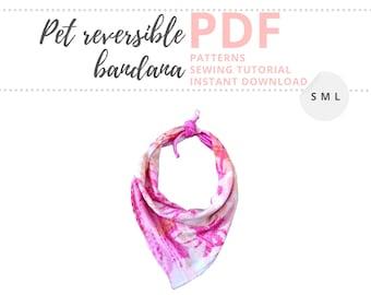 Dog bandana PATTERN PDF / Dog and cat accessories / Pet gift / Reversible Bandana DIY / Small, Medium and Large / Bandana Patterns