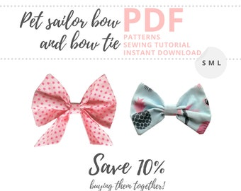 Dog bowtie pattern and sailor bow pattern / 2 Bow collar accessories for pets / Sewing for dogs and cats Instant Download PDF