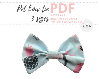 Dog bow tie pattern / Dog collar accessories / Small, Medium, Large sizes / Pet patterns for sewing / Dog accessories PDF sewing patterns