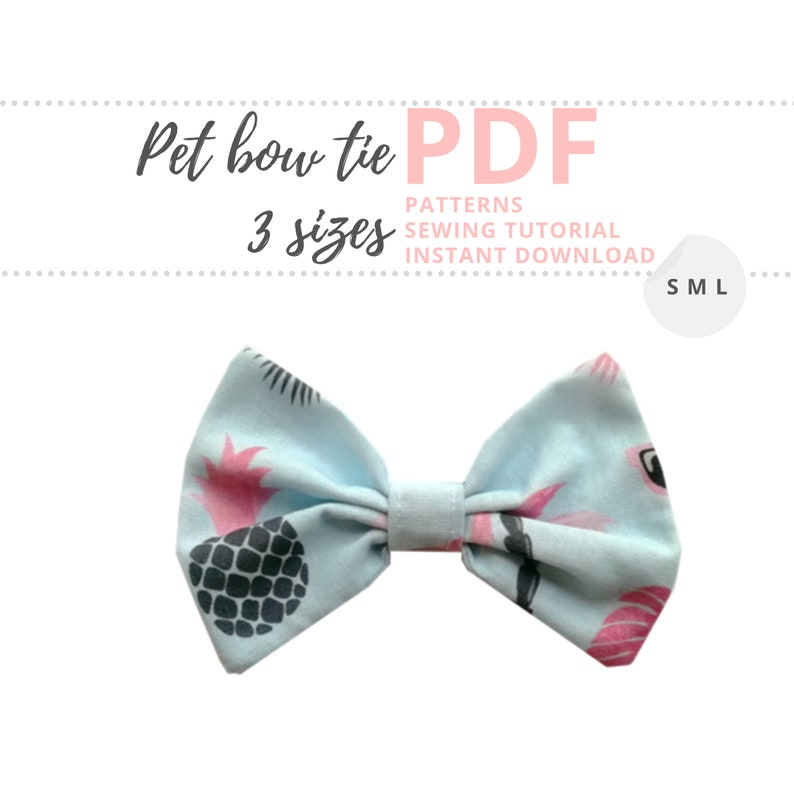 Pet bow tutorial / Dog bow tie sewing pattern / Cat bow tie image 0