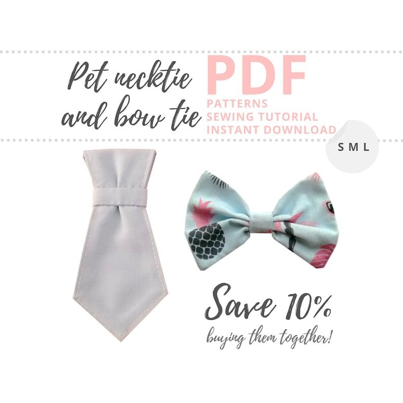 Dog collar accessories PDF patterns / Pet necktie and bow tie image 0