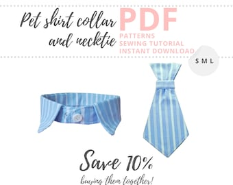 Dog shirt collar pattern and Dog neck tie sewing pattern/ How to Make Pet accessories / Dog wedding outfit / Sewing for dogs / S M L