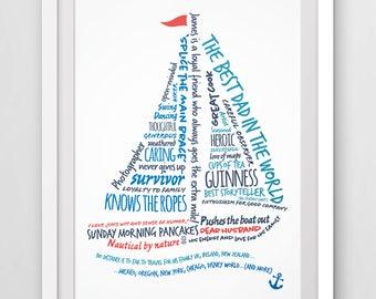 Personalized sail boat word art, gift for sailors, custom print.