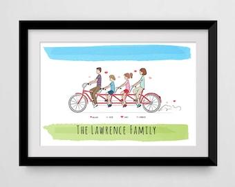Personalized Family Tandem Bike Art, Custom Portrait.