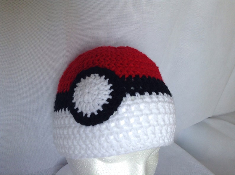 12d90a4794b Pokeball Hat Crochet Costume Hat Children s Adult Size