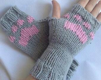 Kitty Cat Paws Fingerless Gloves - Grey