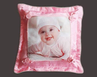 PINK or blue pillow with buttons 38 * 38 cm with your PHOTO