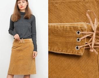 90's Camel Corduroy A-line Skirt
